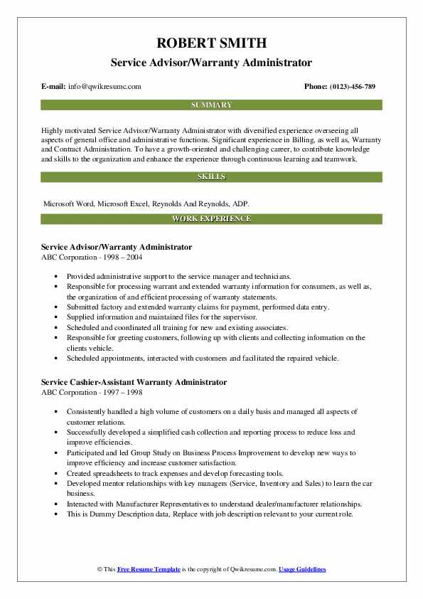 Service Advisor/Warranty Administrator Resume Sample