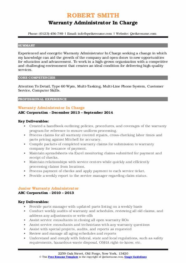 Warranty Administrator In Charge Resume Template