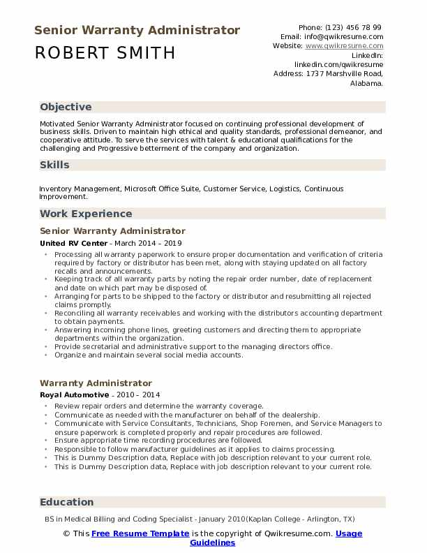 Senior Warranty Administrator Resume Example