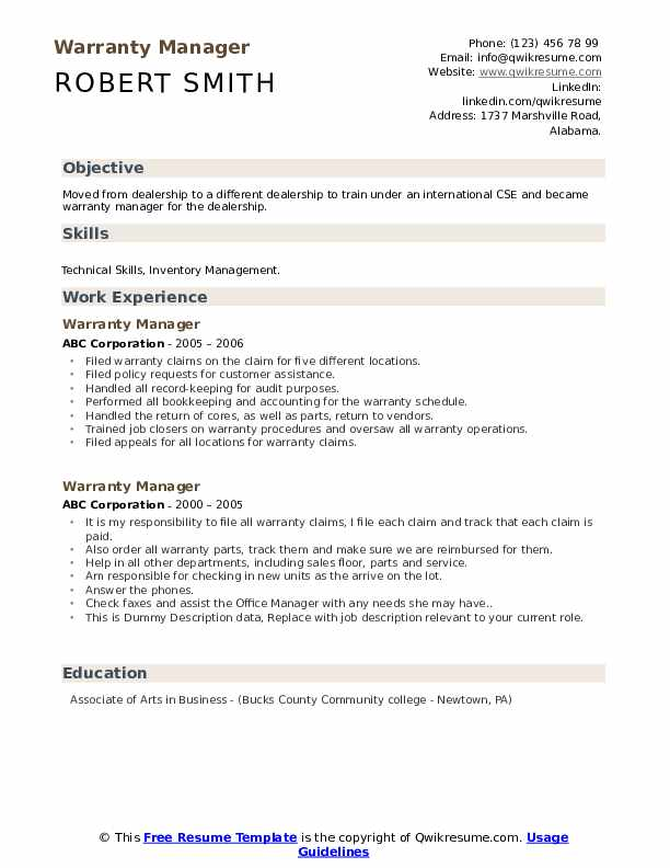 Warranty Manager Resume example