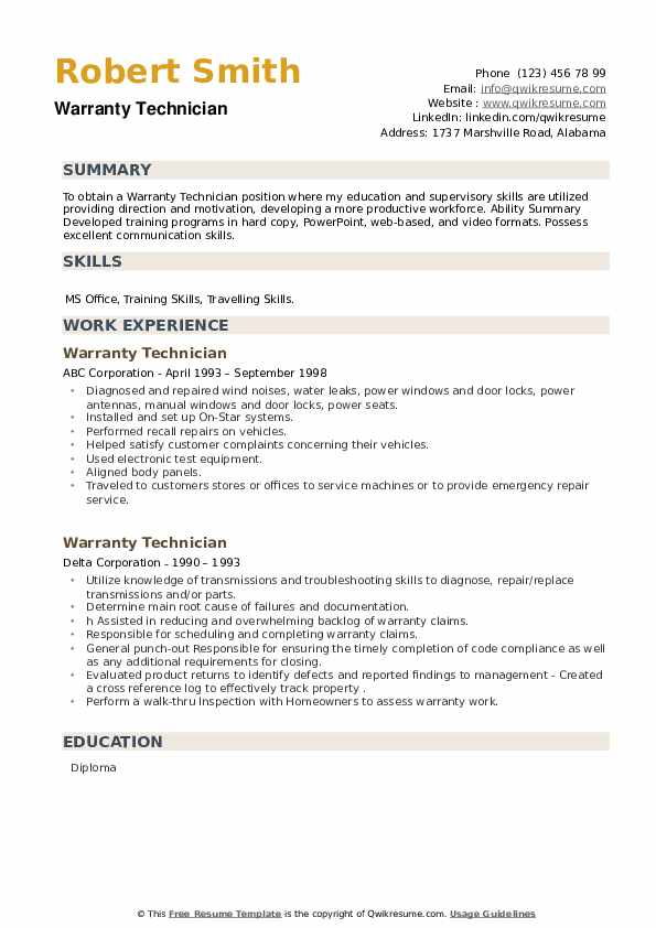 Warranty Technician Resume example