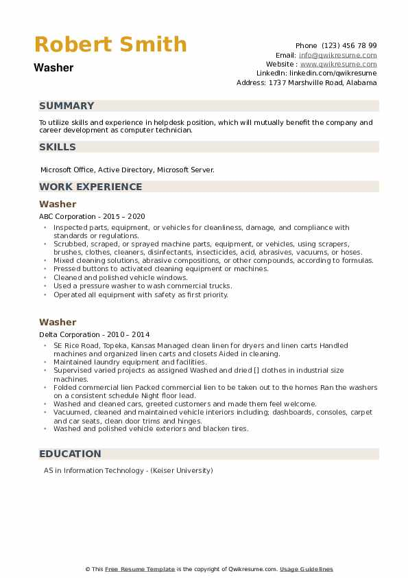 Washer Resume example