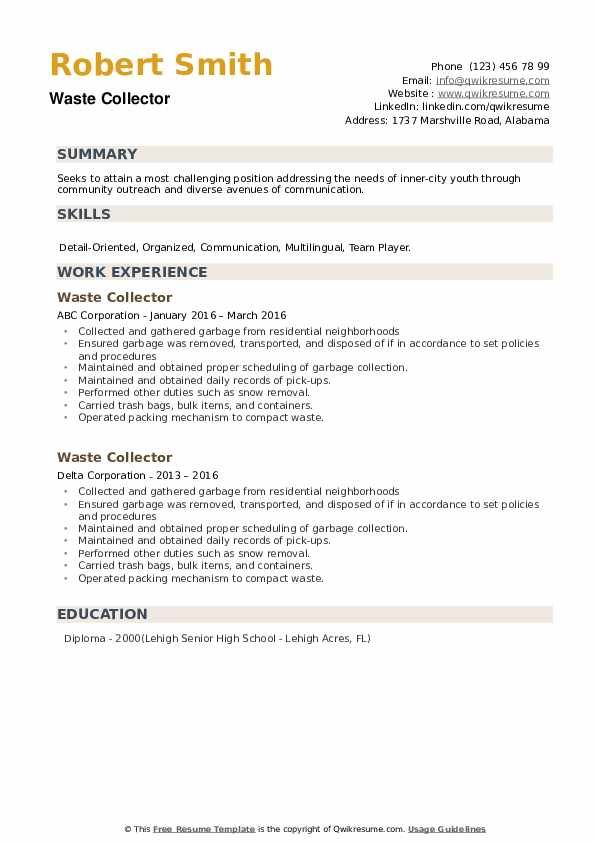 Waste Collector Resume example