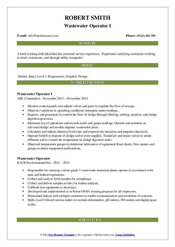 wastewater operator resume samples