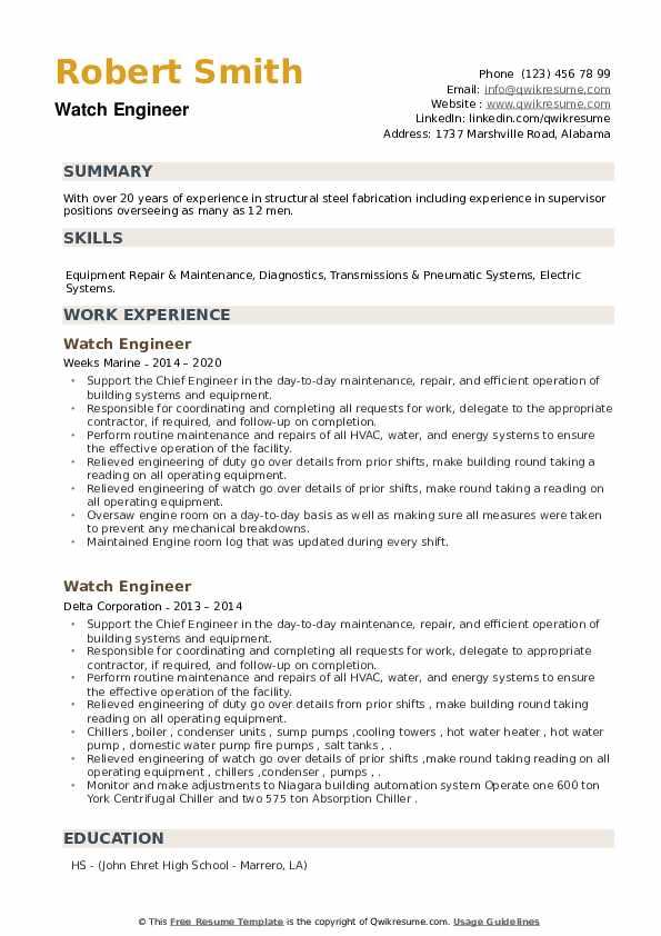 Watch Engineer Resume example