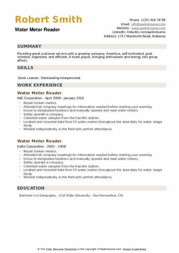 Water Meter Reader Resume example