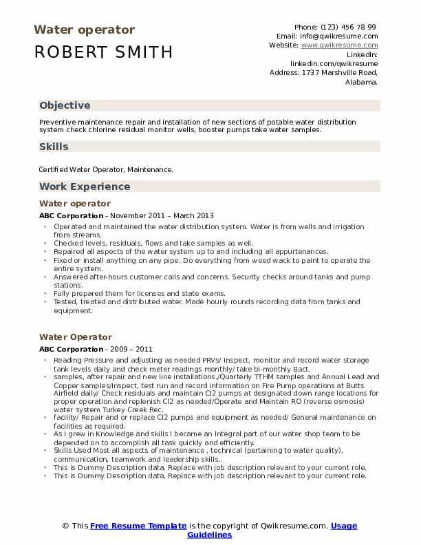 Water Operator Resume example