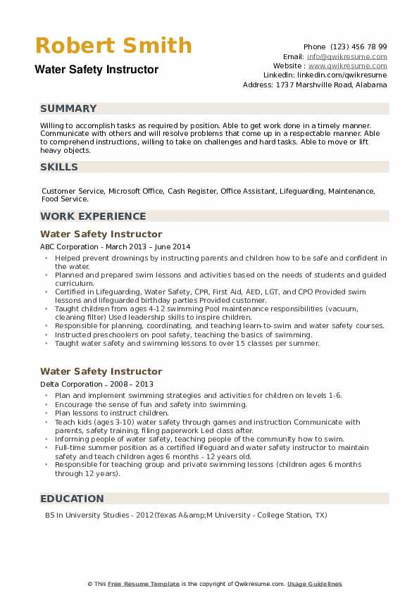 Water Safety Instructor Resume example