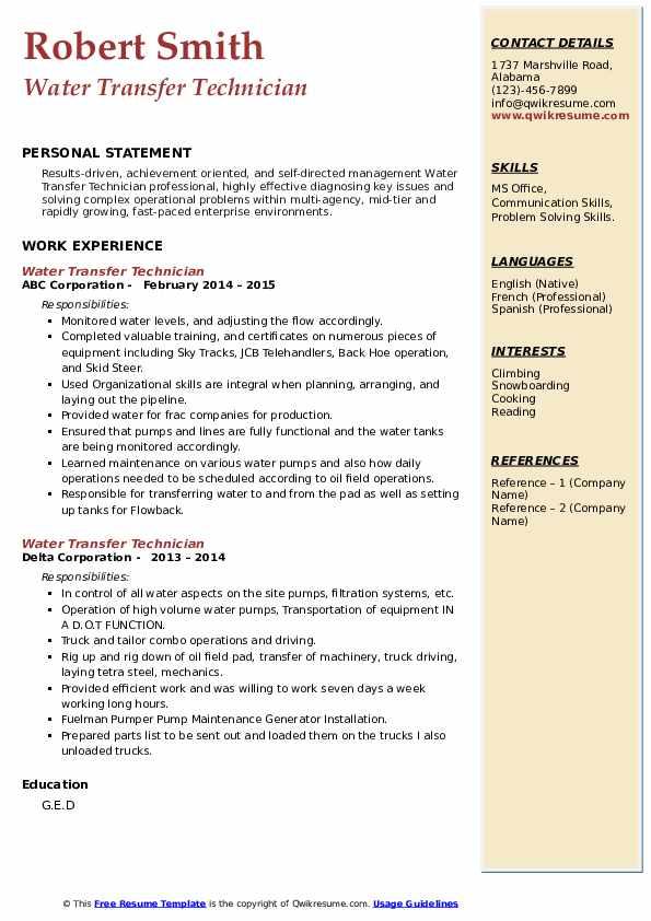 water transfer technician resume samples  qwikresume