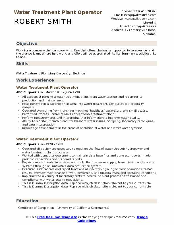 Water Treatment Plant Operator Resume example