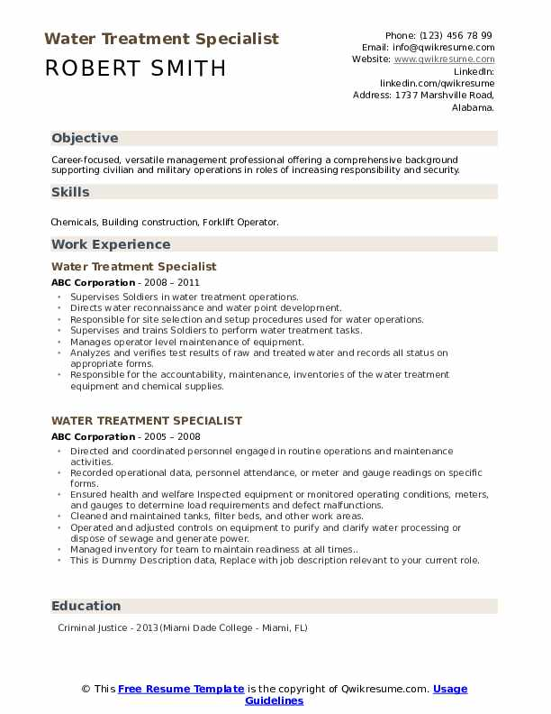 Water Treatment Specialist Resume example