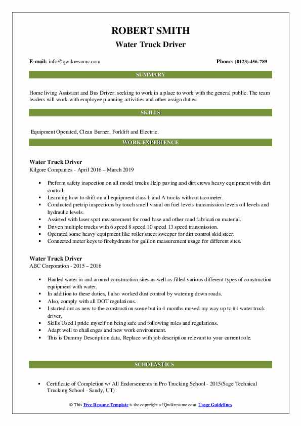 Water Truck Driver Resume example