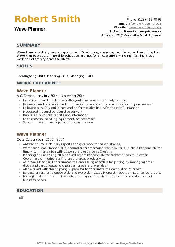 Wave Planner Resume example