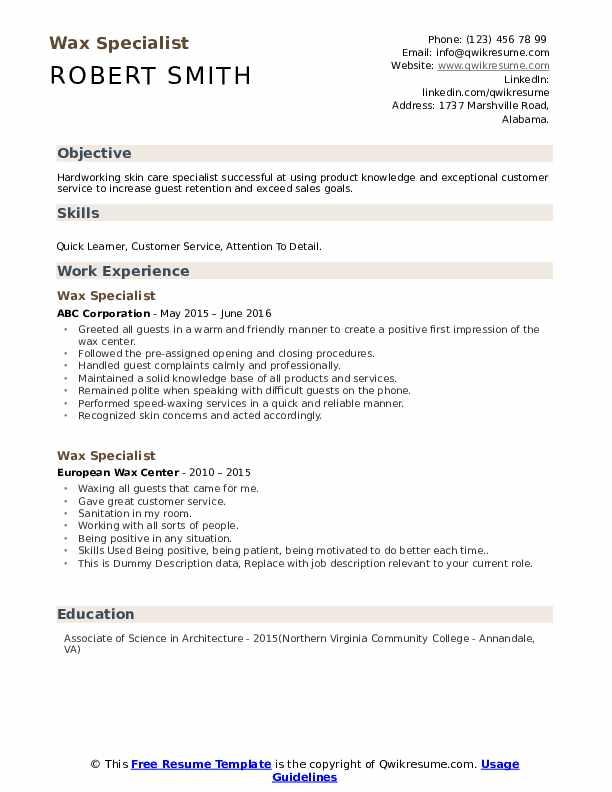 Wax Specialist Resume example