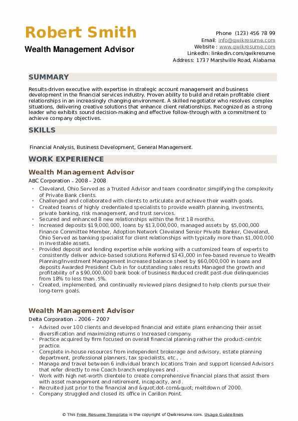 Wealth Management Advisor Resume example