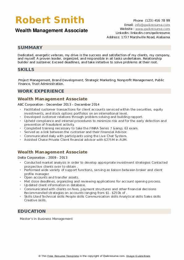 Wealth Management Associate Resume example