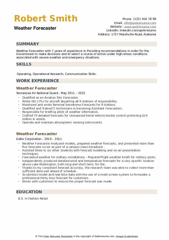 Weather Forecaster Resume example