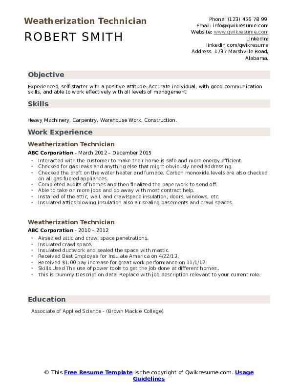 Weatherization Technician Resume example