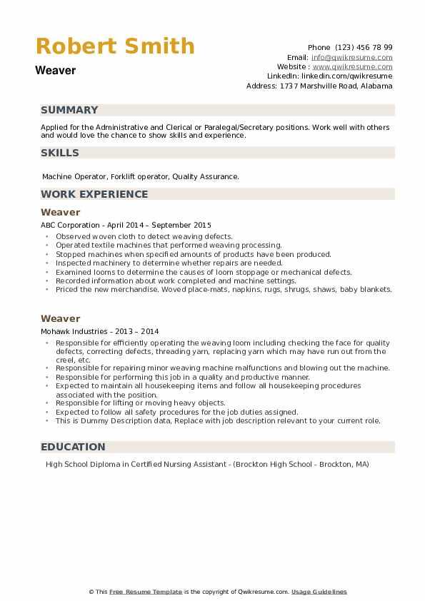 Weaver Resume example