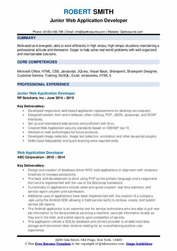 Junior Web Application Developer Resume Example