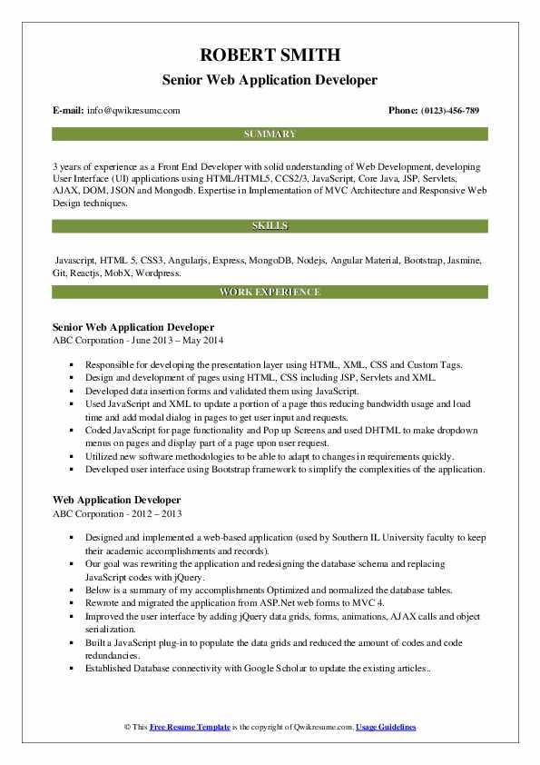 Senior Web Application Developer Resume Template