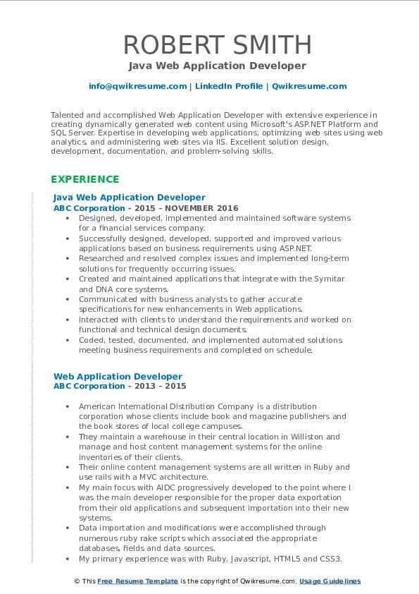 web application developer resume samples