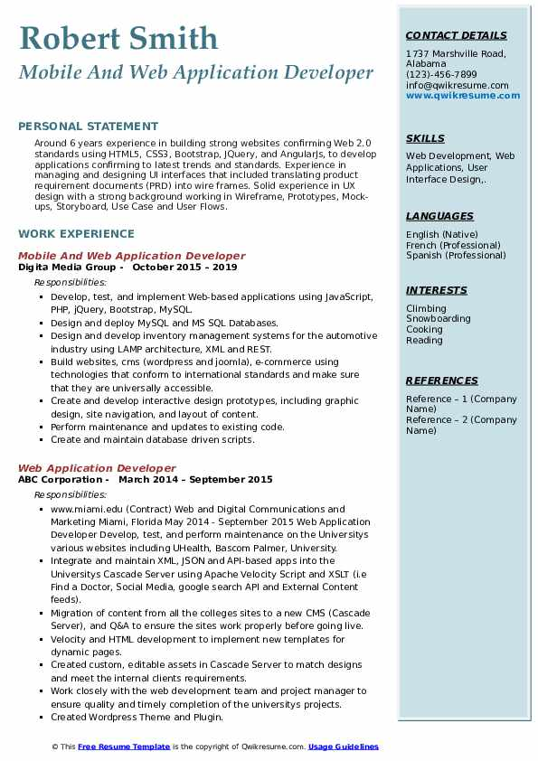 Mobile And Web Application Developer Resume Template