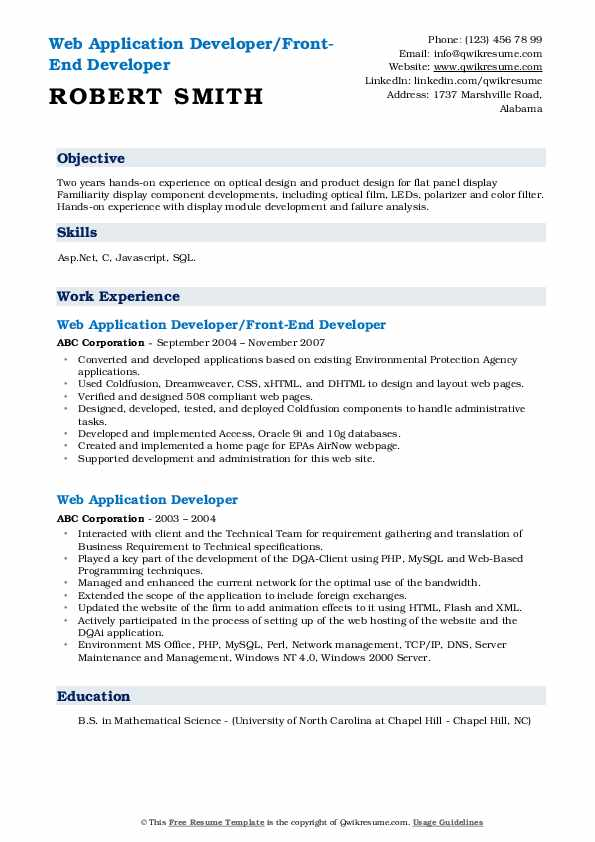 Web Application Developer/Front-End Developer Resume Model