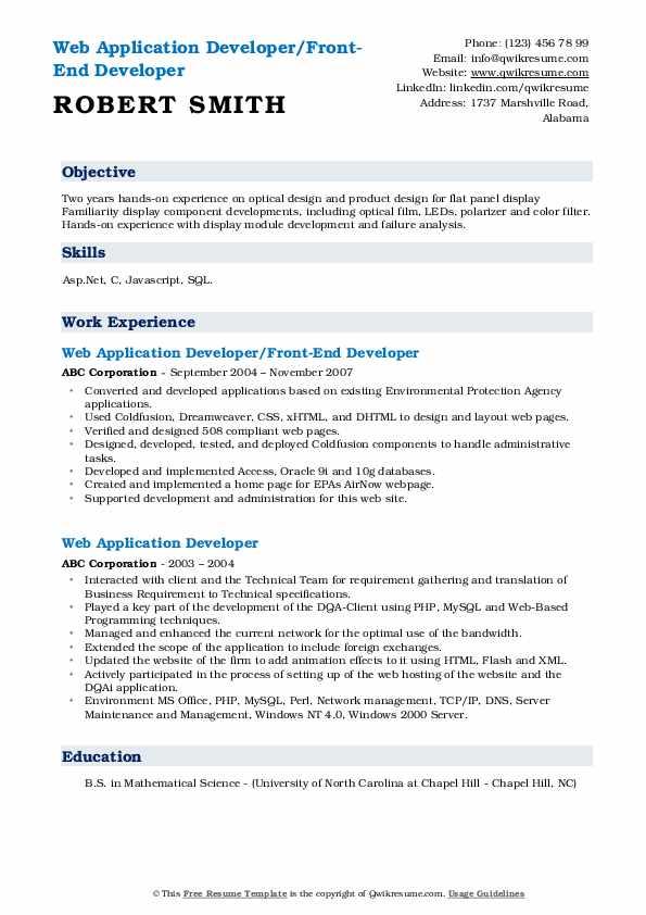 Web Application Developer/Front-End Developer Resume Sample