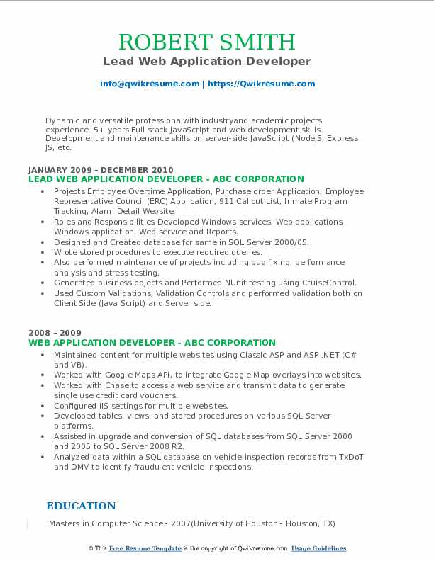 Lead Web Application Developer Resume Format