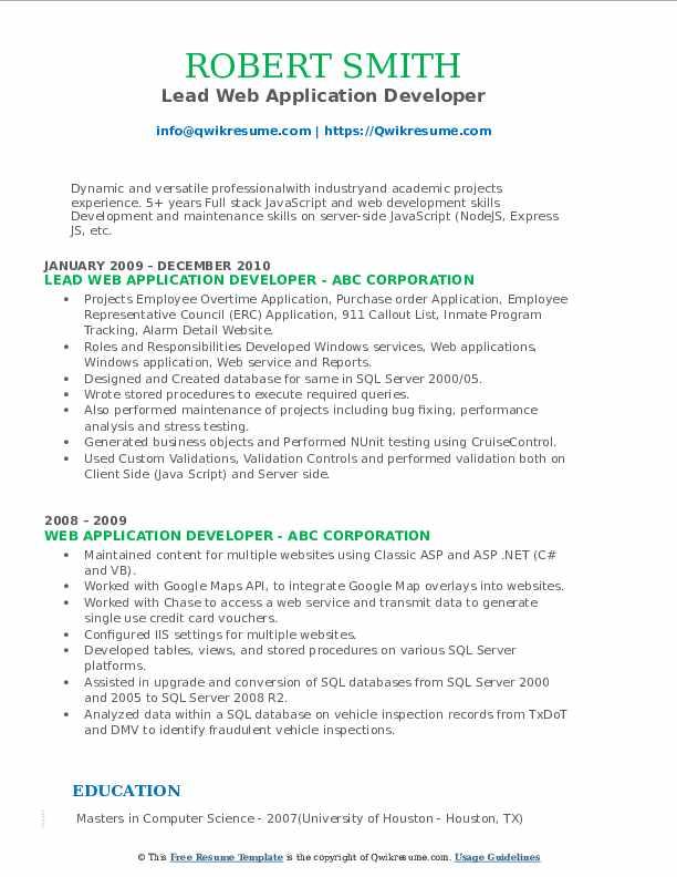 Lead Web Application Developer Resume Model