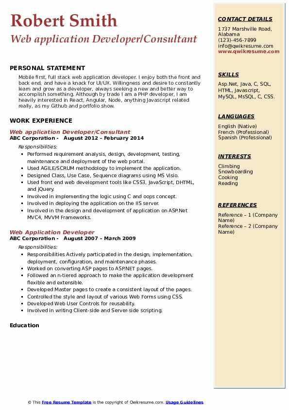Web application Developer/Consultant Resume Sample