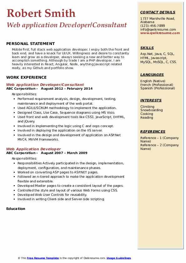Web application Developer/Consultant Resume Template