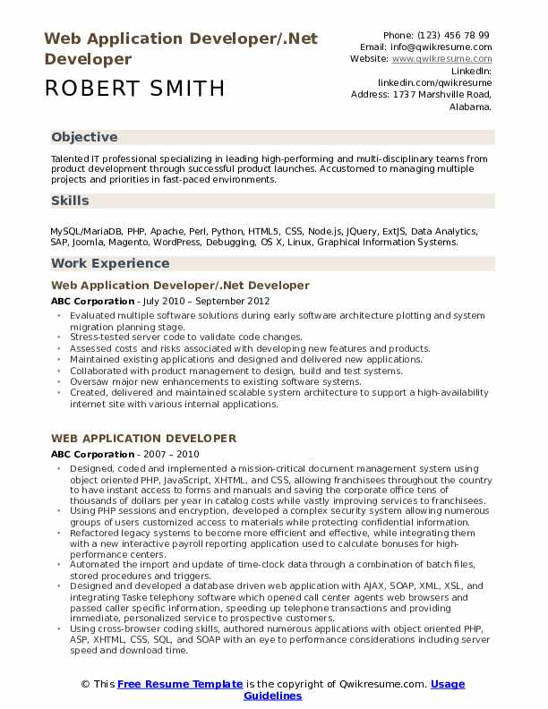 Web Application Developer/.Net Developer Resume Template