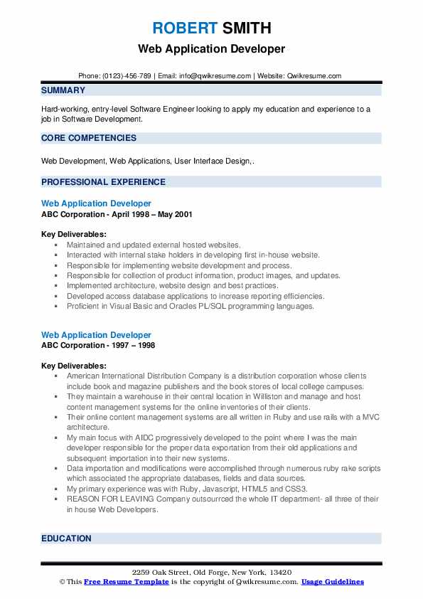 Web Application Developer Resume Samples | QwikResume