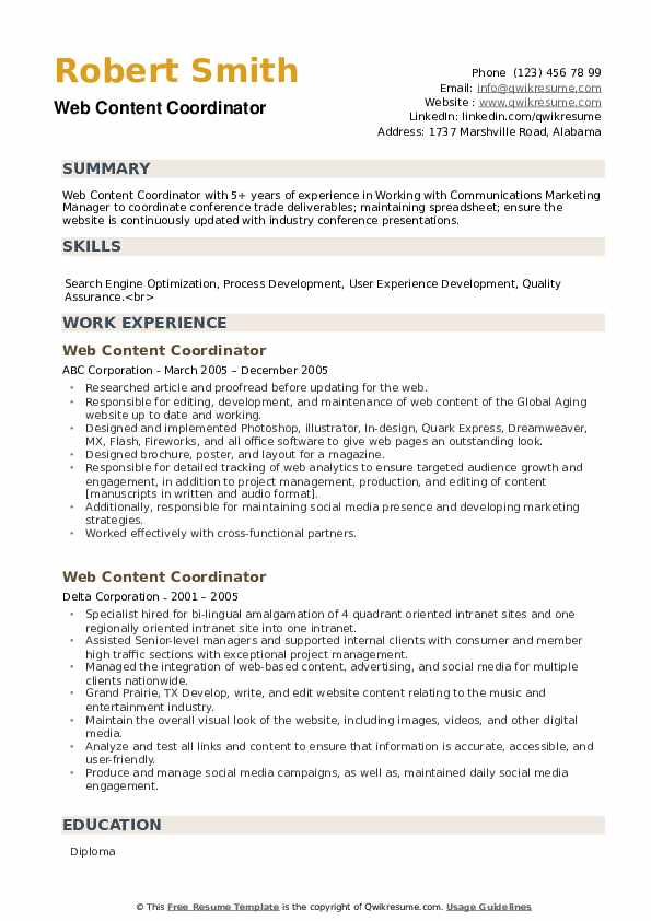 Web Content Coordinator Resume example