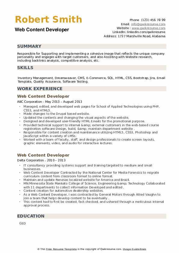 Web Content Developer Resume example