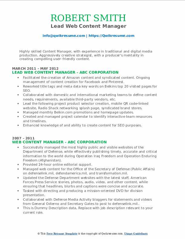 web content manager resume samples