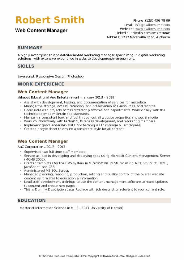 Web Content Manager Resume example