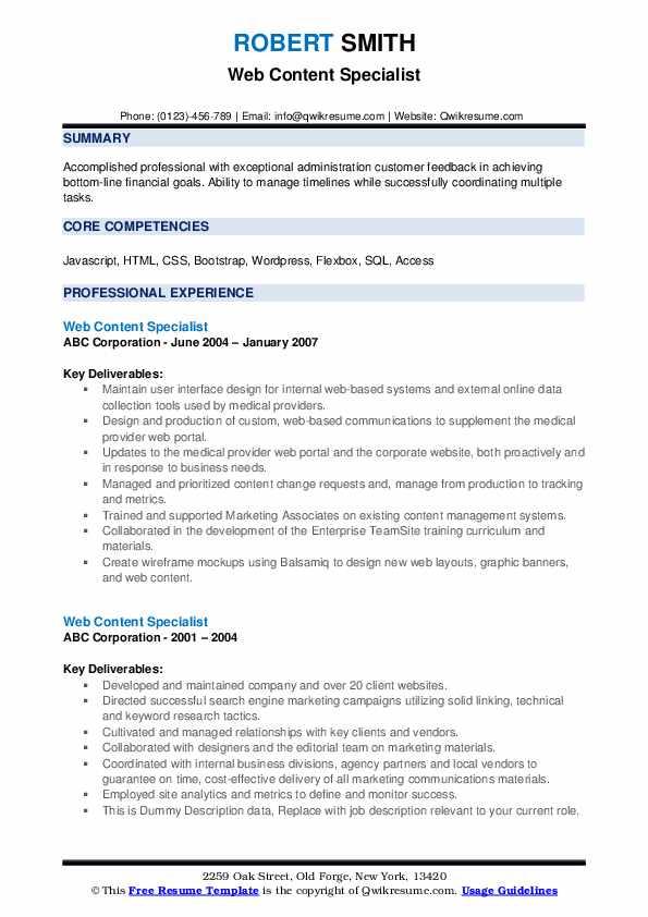 Web Content Specialist Resume example