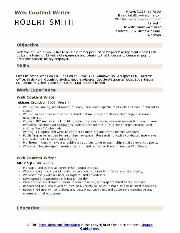 Web Content Writer Resume Samples | QwikResume