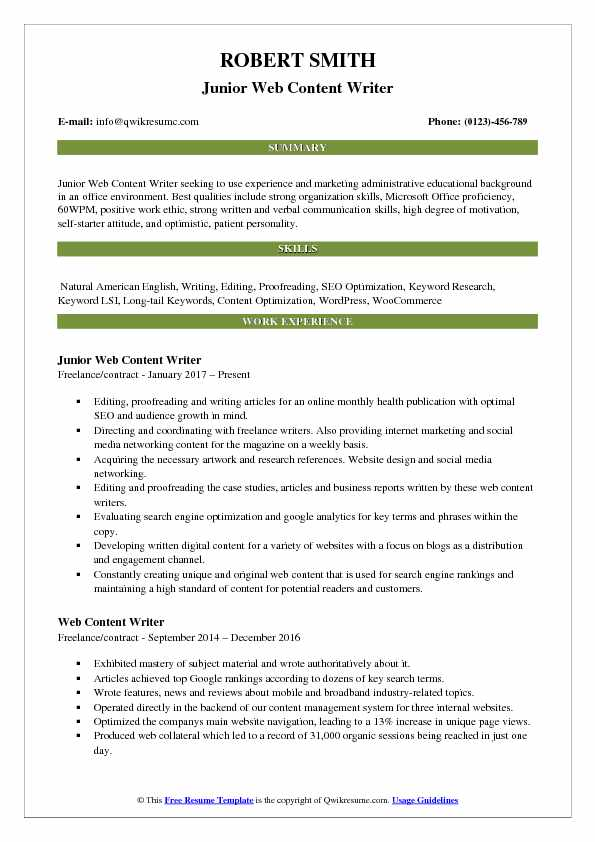 Junior Web Content Writer Resume Template