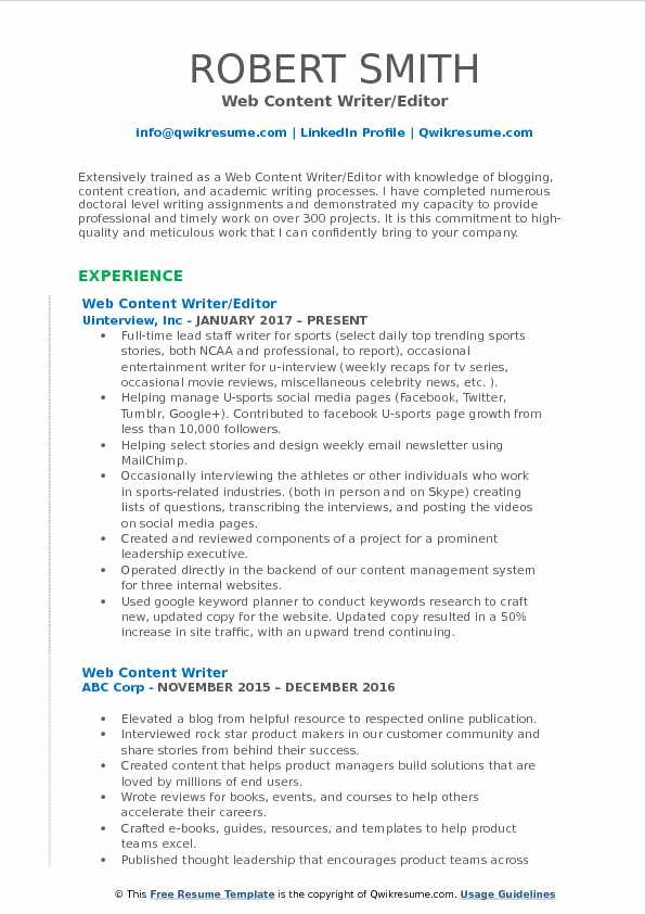 Web Content Writer/Editor Resume Template