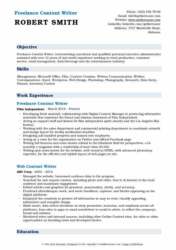 Freelance Content Writer Resume Template
