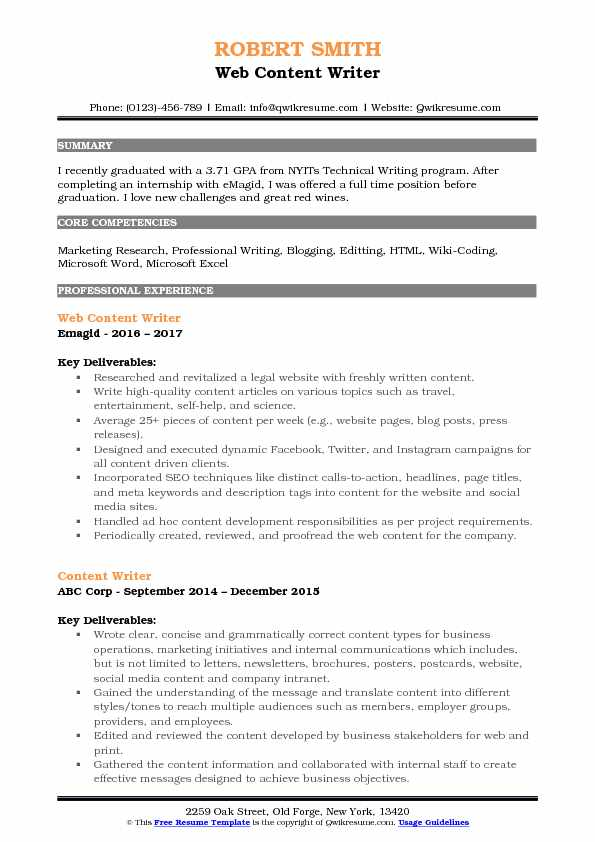 Web Content Writer Resume Template