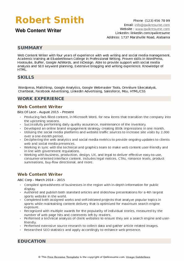 Web Content Writer Resume example
