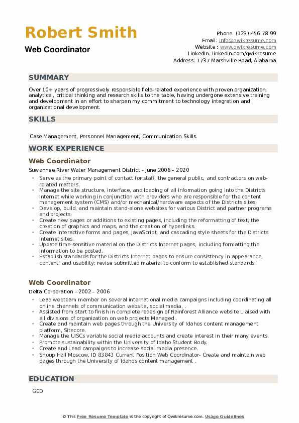 Web Coordinator Resume example