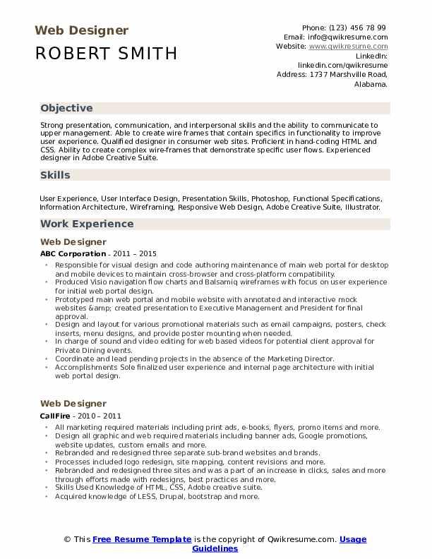 Web Designer Resume Samples Qwikresume