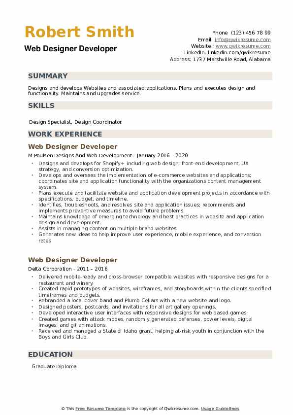 Web Designer Developer Resume example