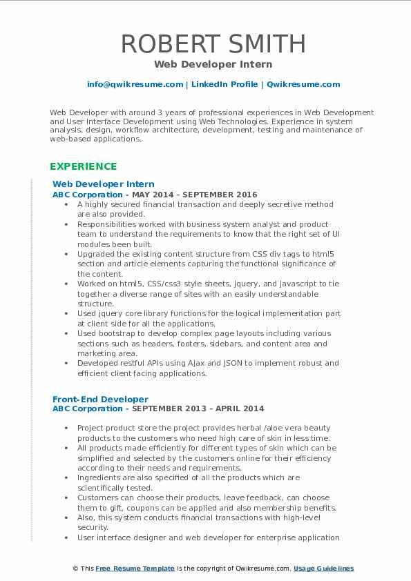 Web Developer Intern Resume Format